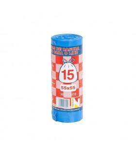 Bolsas de Basura Cierre Fácil 55 x 55 cm. Caja de 25 rollos de 15 uds x rollo. Azules