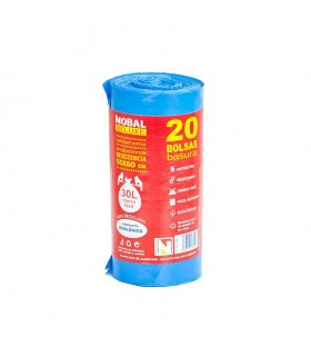 Bolsas de Basura Cierre Fácil 55 x 60 cm. Caja de 18 rollos de 20 uds x rollo. Azules.