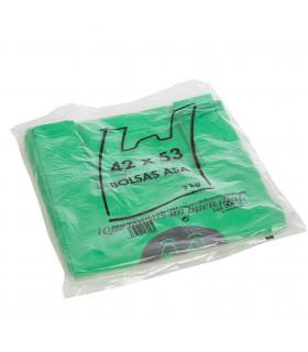2 kilos de Bolsas verdes de plástico 70% recicladas. Asa Camiseta 42x53 cm. Con mensaje de agradecimiento