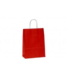 Bolsas de papel con asa retorcida de 22x10x31 cm. Rojas. Caja de 200 uds.