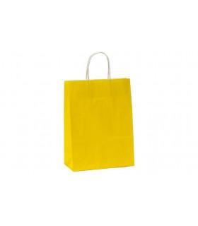 Bolsas de papel con asa retorcida de 22x10x31 cm. Amarillas. Caja de 200 uds.