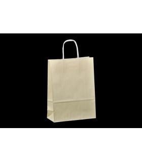 Bolsas de papel con asa retorcida de 22x10x31 cm. Crema. Caja de 200 uds.