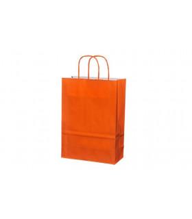 Bolsas de papel con asa retorcida de 22x10x31 cm. Naranjas. Caja de 200 uds.