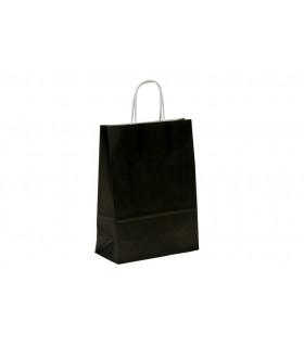 Bolsas de papel con asa retorcida de 22x10x31 cm. Negras. Caja de 200 uds.