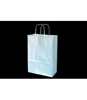 Bolsas de papel con asa retorcida de 22x10x31 cm. Plata. Caja de 200 uds.