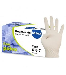 Guantes de látex empolvados Nobal. Talla Pequeña. Caja de 100 guantes.