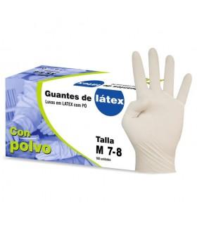 Guantes de látex empolvados Nobal. Talla Mediana. Caja de 100 guantes.