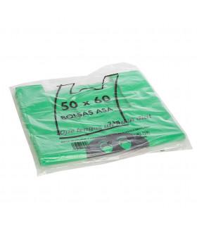 2 kilos de Bolsas verdes de plástico, 70% recicladas. Asa Camiseta 50x60 cm. Con mensaje de agradecimiento
