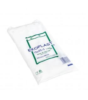 Bolsas blancas de plástico Mercado 15x25+3 cm. Paquete de 1.000 uds