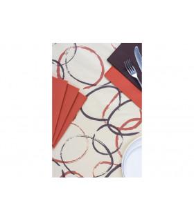 Rollo de mantel de papel damascado IMPERMEABLE de 1,2x5 metros. Decorado Dama Move Crema. Caja de 35 rollos.
