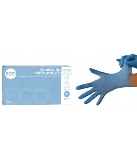 Guantes de nitrilo color azul. Talla mediana. Caja de 100 unidades.