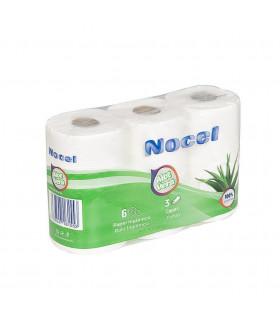 """Papel Higiénico """"Nocel Aloe Vera"""" de 3 capas. Fardo de 7 paquetes de 6 rollos."""