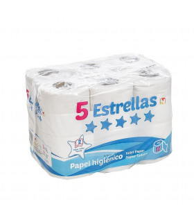 """Higienico """"5 Estrellas""""x12 2 Capas Blanco. Fardo de 9 paquetes de 12 rollos."""