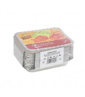Bandeja aluminio 12 piezas + tapas NOBAL Ref. NO980 (222x157x38mm) - Paq 50 envases