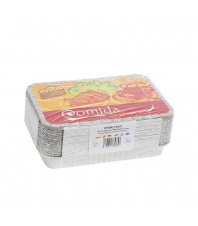 Bandeja aluminio 18 piezas + tapas NOBAL Ref. NO2200 (310x210x42mm) - Paq 25 envases