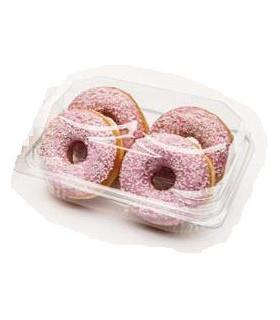 "Envase Transparente Rectangular Hermetico 180x120x80 ""4 Donuts"" - Caja 250 uds"