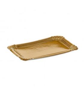 Bandejas de cartón Oro de 12x19 cm 1/4 kg. Paquete de 100 uds.