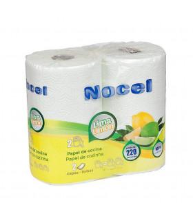 """Rollo de papel  de cocina """"Nocel"""". Lima limón. Fardo de 12 paquetes de 2 rollos."""