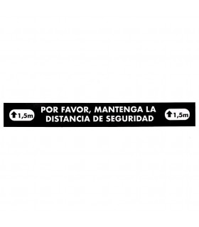 Vinilo Distanciamiento para Suelo Rectangular Negro 80x10 cms. - 1 ud.