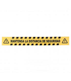 Vinilo Distanciamiento para Suelo Rectangular Amarillo/Negro 80x10 cms. - 1 ud.