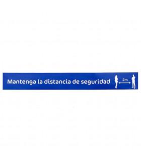 Vinilo Distanciamiento para Suelo Rectangular Azul 80x10 cms. - 1 ud.