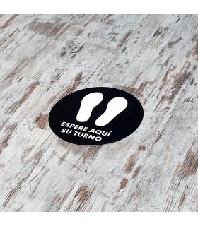 Vinilo Distanciamiento para Suelo Circular Negro 40 cms. - 1 ud.