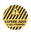 Vinilo Distanciamiento para Suelo Circular Amarillo/Negro 40 cms. - 1 ud.