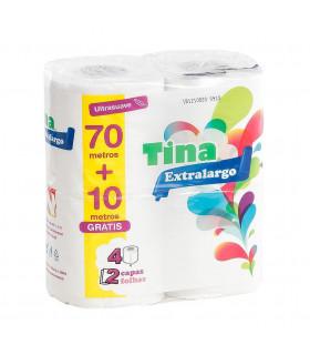 """Papel Higiénico """"NUEVO TINA EXTRALARGO 20 mts."""" de 2 capas. Fardo de 24 paquetes de 4 rollos."""