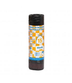 Rollo Basura 15 Usos 55x55 Negro C/facil C/banderola - Caja 30 rollos