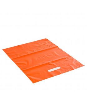 Asa Troquelada 35x45 Naranja 50 micras/70% reciclado - Paq 100 uds