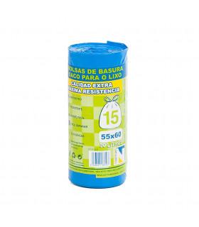 Bolsas de Basura Cierre Fácil 55 x 60 cm. Caja de 24 rollos de 15 uds x rollo. Azules.