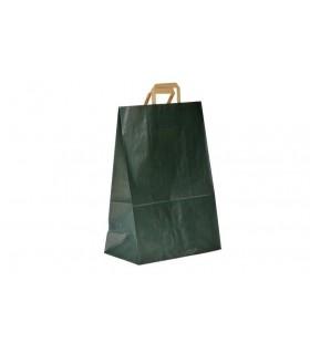 Bolsas de papel de asa plana de 26x14x39 cm. Verjurado verde. Caja de 250 uds.