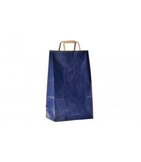 Bolsas de papel de asa plana de 27x12x37 cm. Verjurado azul. Caja de 250 uds.