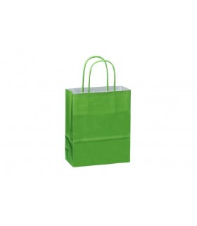 Bolsas de papel con asa retorcida de 18x8x22 cm. Verdes. Caja de 300 uds.