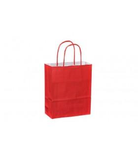 Bolsas de papel con asa retorcida de 18x8x22 cm. Rojas. Caja de 300 uds.