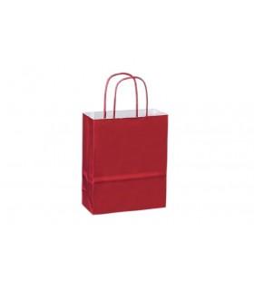 Bolsas de papel con asa retorcida de 18x8x22 cm. Burdeos. Caja de 300 uds.