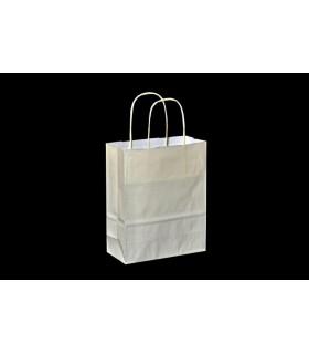 Bolsas de papel con asa retorcida de 18x8x22 cm. Crema. Caja de 300 uds.