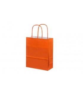 Bolsas de papel con asa retorcida de 18x8x22 cm. Naranja. Caja de 300 uds.