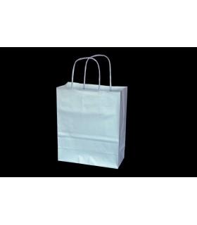 Bolsas de papel con asa retorcida de 18x8x22 cm. Plata. Caja de 300 uds.