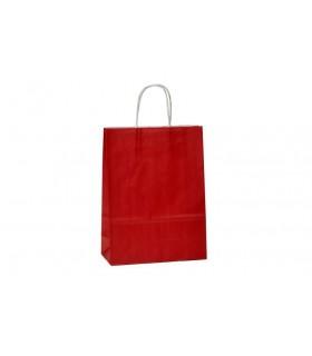 Bolsas de papel con asa retorcida de 22x10x31 cm. Burdeos. Caja de 200 uds.