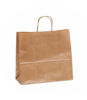 Bolsas de papel con asa retorcida de 32x12x29 cm. Kraft verjurado. Caja de 250 uds.