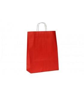 Bolsas de papel con asa retorcida de 32x12x41 cm. Rojas. Caja de 200 uds.