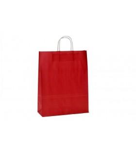 Bolsas de papel con asa retorcida de 32x12x41 cm. Burdeos. Caja de 200 uds.