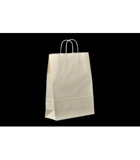 Bolsas de papel con asa retorcida de 32x12x41 cm. Crema. Caja de 200 uds.