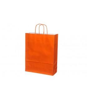 Bolsas de papel con asa retorcida de 32x12x41 cm. Naranjas. Caja de 200 uds.
