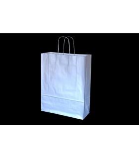 Bolsas de papel con asa retorcida de 32x12x41 cm. Plata. Caja de 200 uds.