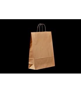Bolsas de papel con asa retorcida de 32x12x41 cm. Kraft verjurado. Caja de 250 uds.