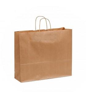 Bolsas de papel con asa retorcida de 40x12x34 cm. Kraft verjurado. Caja de 250 uds.