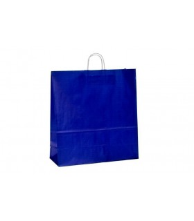 Bolsas de papel con asa retorcida de 45x17x48 cm. Azul oscuro. Caja de 150 uds.