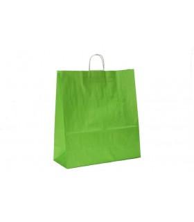 Bolsas de papel con asa retorcida de 45x17x48 cm. Verdes. Caja de 150 uds.